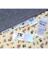 30 Custom clothing name label sew in hanging tag fabric kid school Perso... - $7.86