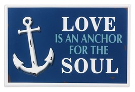 Love is An Anchor For the Soul Blue and White Painted Tin Wall Sign 14.2... - £32.50 GBP