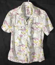Women's Top Eddie Bauer Size L Button Blouse White Pink Yellow Floral Nylon - $11.87