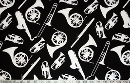 1/2 yard music/instrument silhouettes on black quilt fabric -free shipping