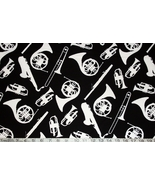 1/2 yard music/instrument silhouettes on black quilt fabric -free shipping - $9.99