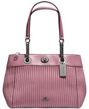 COACH NWT Dusty Rose Nappa Leather Turnlock Edie Carryall Quilting 22751 - $190.51