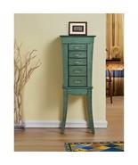 NEW Sea Green Jewelry Armoire Cabinet 5 Drawers Mirror Vanity 2 Doors El... - $198.89