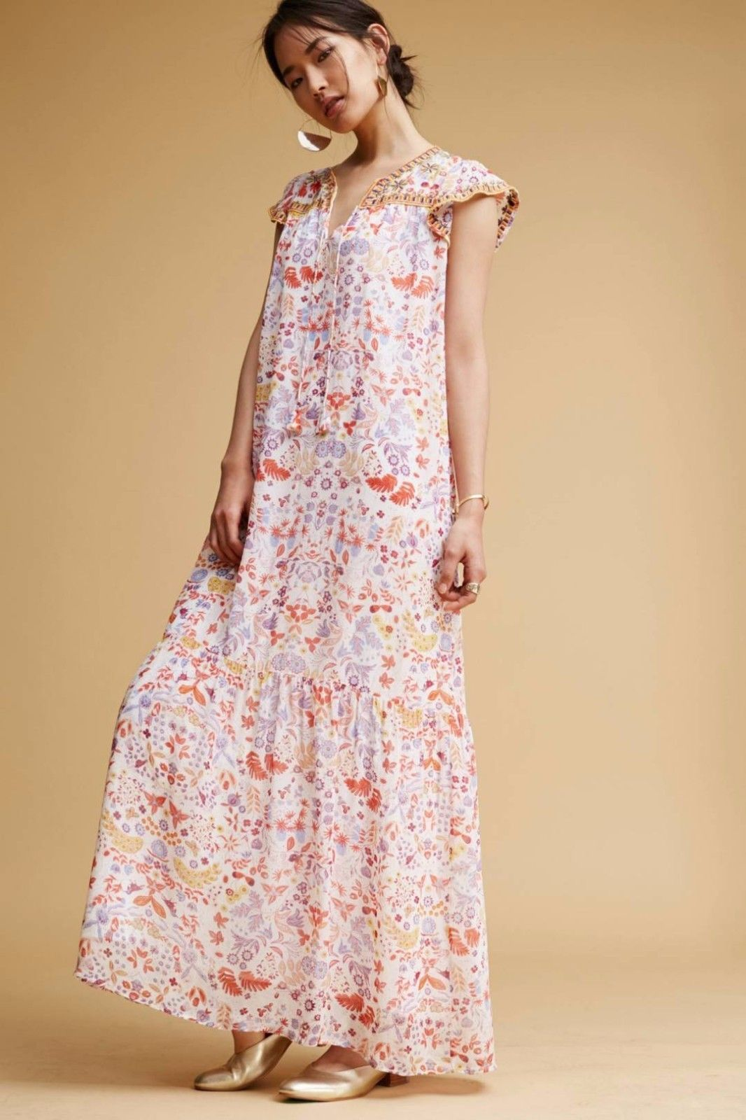 NWT ANTHROPOLOGIE SAMSA MAXI DRESS by ANTIK BATIK PARIS XS, S
