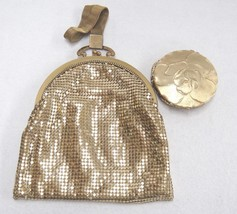 Whiting Davis Gold Mesh Bag with Woven Handle & Matching Evans Compact w... - $56.62