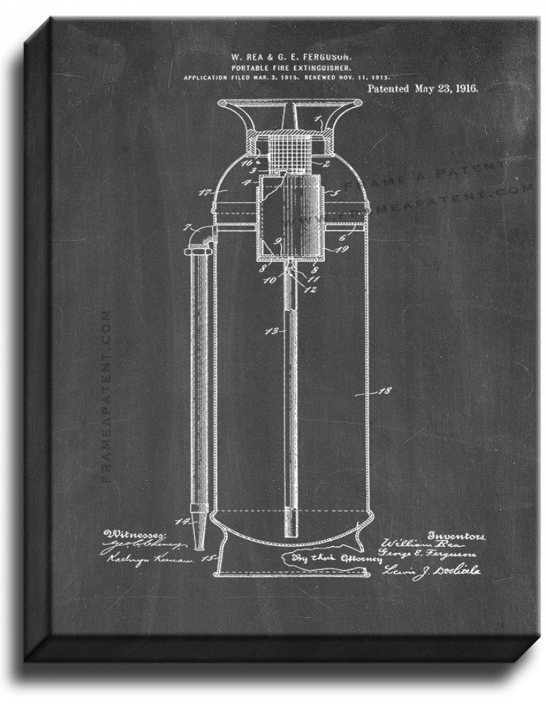 Primary image for Portable Fire-extinguisher Patent Print Chalkboard on Canvas