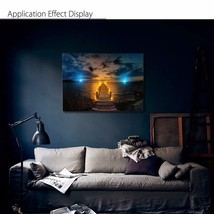 LED Light Up Sunset Sea Bridge Landscape Canvas Painting Picture Mural f... - $25.15