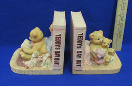 Teddy Bear Book Ends Teddys Day Out Resin Bookends Pink Childs Room Decor - $29.69