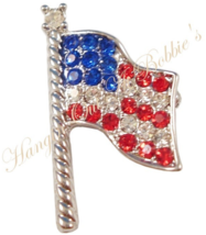 USA Flag Pin Brooch Crystal Red White Blue Silvertone Metal Patriotic  - $14.99