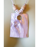 rectangle shell necklace white cord nautical beach jewelry boho statement - $5.99