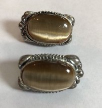 "Vintage Faux Tiger Eye Silver Tone Clip On Earrings 1"" Oval - $5.87"