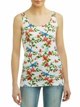Time And Tru Women's Rib Scoop Neck Tank Shirt Medium (8-10) Floral Bird... - $9.79