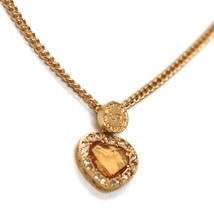 REBECCA BRONZE YELLOW NECKLACE, GROUMETTE CHAIN, ORANGE CRYSTAL HEART, B14KOC24 image 2