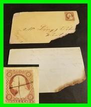 U.S. Scott # 10 / 11? 1856 Envelope & Letter Fayetteville, IN ~ w/ Uniqu... - $24.24
