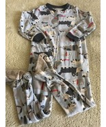 Carters Boys Blue Gray White Dogs Fleece Long Sleeve Pajamas 4T - $5.71