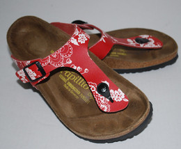 Papillio Birkenstock Thong Sandal Womens 7 Shoes Red White Floral Buckle... - €52,43 EUR