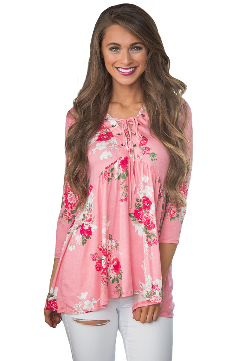 Lace Up V Neck Pink Floral Blouse