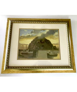 Morro Rock at Sunset Art Print Framed Matted By Artist Marjorie Sharpe - $55.00