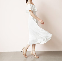 White Midi Chiffon Dress Off Shoulder White Wedding Bridesmaids Midi Dress Plus image 2