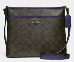 New Coach 29210 Signature File Bag Crossbody handbag Brown / Dark Purple  - $88.00