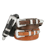Western Silver Engraved Rope Edge Ranger Genuine Bison Leather Belt - $39.95