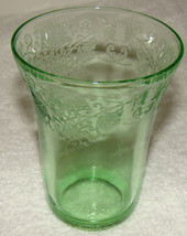 Hazel Atlas Poppy Green Florentine Depression Glass 9 oz. Tumbler - $12.50