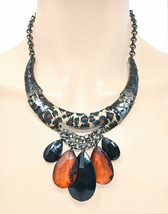 Leopard Animal Print Black & Honey Casual Statement Necklace Earrings Casual  - $16.63