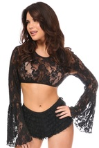 Black Fashion Sheer Lace Peasant Crop Top with Bell Sleeves  ~ Plus Size... - $34.99
