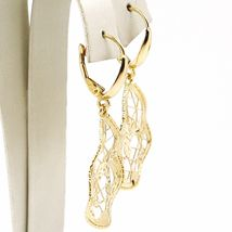 Yellow Gold Drop Earrings 750 18k, Drops Corrugated, Flowers worked image 4