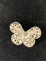 Vintage Designer Signed Emmons Silver Plated Filigree Butterfly Pin - $12.50