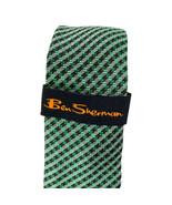 Ben Sherman Britannia Wardrobe Green Silver Checkered Narrow Silk Neckti... - $19.79
