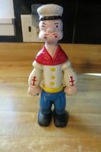 Popeye the sailor man cartoon self standing cast iron statue figural bank - $47.50