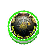 Fallout 4 vault door party decoration round edible party cake topper cak... - $7.80