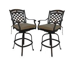 Cast aluminum patio bar stools set of 4 swivels outdoor seating Sunbrella. image 2