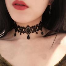 2017 fashion Gothic Victorian Crystal Tassel Tattoo Choker Necklace Blac... - $2.99