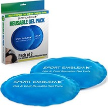 Gel Ice Packs for Injuries Reusable - 2 Cold Packs x 5.5 Inches - Hot Cold Compr