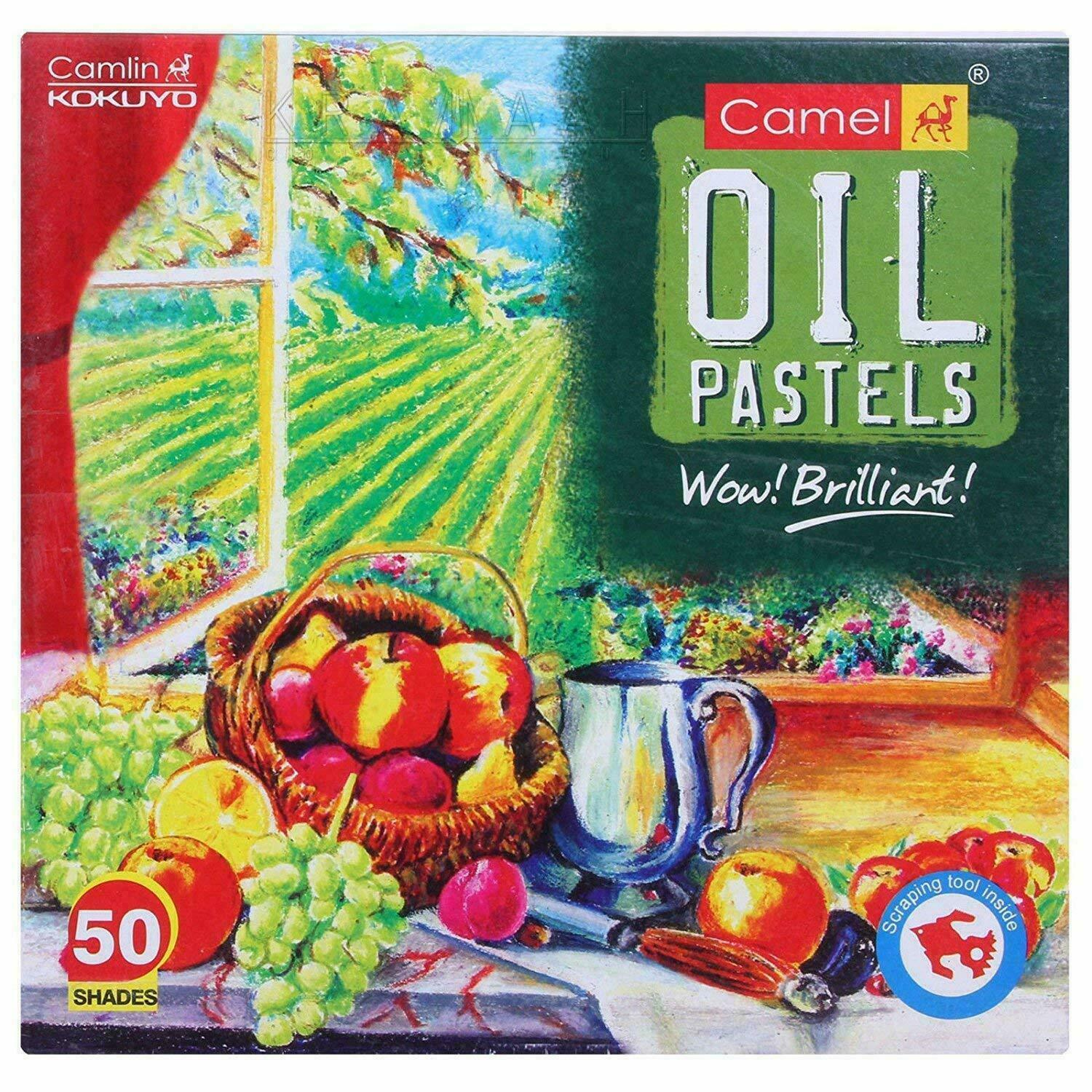 Camlin Kokuyo Oil Pastel (50 Shades)- 50 assorted shades + 1 scraping tool - CA