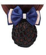 Women Hair Snood Net Barrette Bun Cover Hairnet Bowknot Decor Hair Clip ... - £12.67 GBP