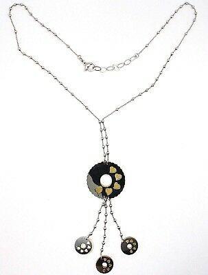 925 Silber Halskette, Kette Kugeln, Blume, Hearts, Scheiben Anhänger, Zweifarbig