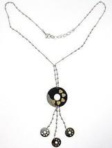925 Silber Halskette, Kette Kugeln, Blume, Hearts, Scheiben Anhänger, Zweifarbig image 1