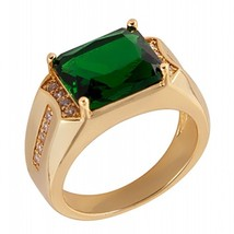 Mens Fashion Jewelry 18k Yellow Gold Plated Emerald CZ Wedding Ring Size... - $6.99