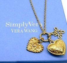 "VERA WANG Triple Pendant Heart Gold over Silver Necklace 20""  - $124.30"