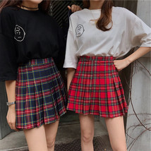 Women Girl Red Plaid Skirt Outfit High Waisted Pleated Red Plaid Skirt Plus Size image 1