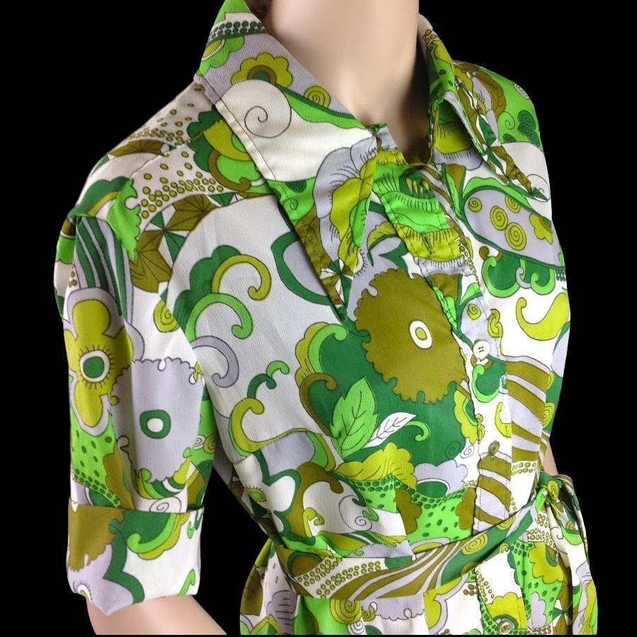 Vtg Bold Mod Hawaiian Spectator Green a Groovy Shirt Dress with Tie Belt