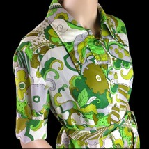 Vtg Bold Mod Hawaiian Spectator Green a Groovy Shirt Dress with Tie Belt - $34.65
