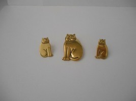 Signed Laurel Burch Set~Mystic Cats in All Gold Plate~Post Earrings + Pin/Brooch - $50.00