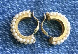 """Elegant Faux Pearl Gold-tone Hoop Clip Earrings 1970s vintage 1"""" - $12.30"""