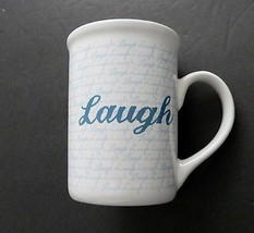 Inspirational Gibson Coffee Mug / Cup Laugh Blue Letters and White Cup - $12.86