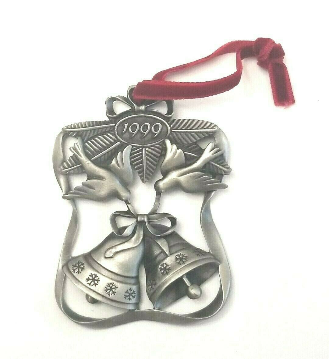 Avon Christmas 1999 Season of Peace Doves and Bells Pewter Collectible Ornament - $13.00