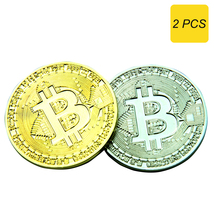 Bitcoin Commemorative Metal Collectors Coin in Protective Acrylic Displa... - $9.99